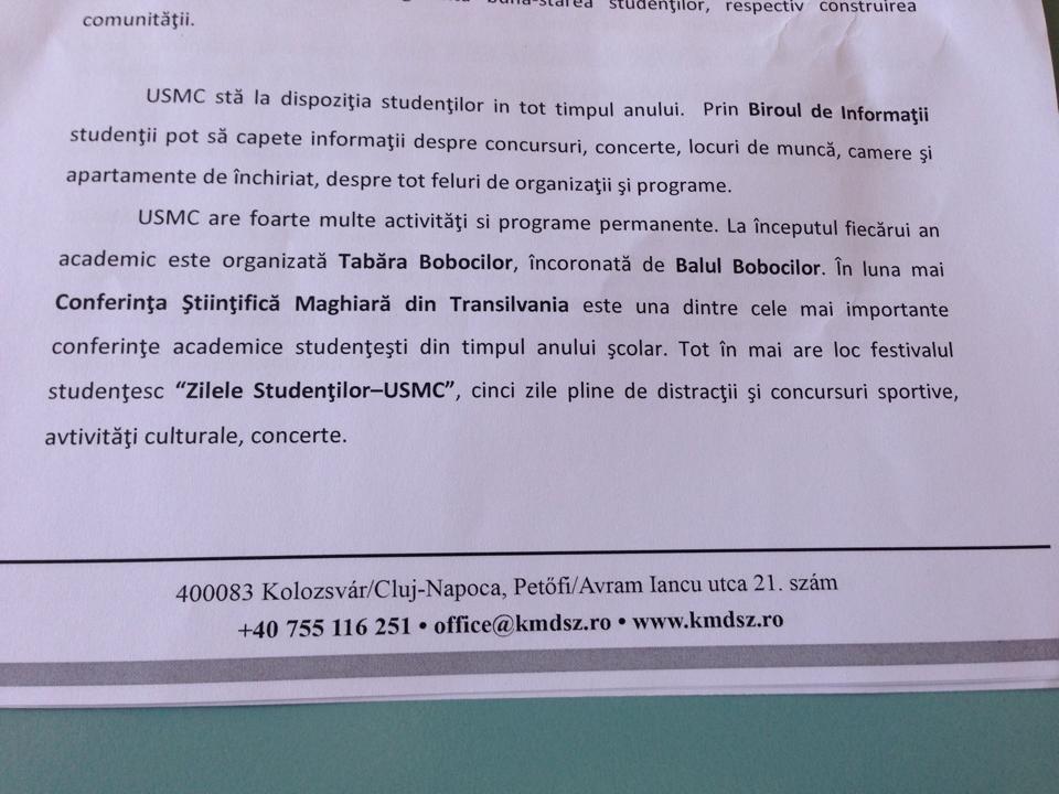 Foto: adresa Uniunii Studentilor Maghiari prezentată consilierilor locali