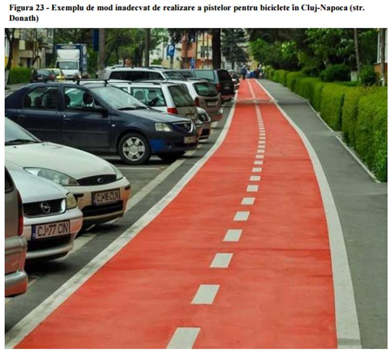 AȘA NU, exemplu de pistă pe strada Donath - sursa PMUD Cluj-Napoca