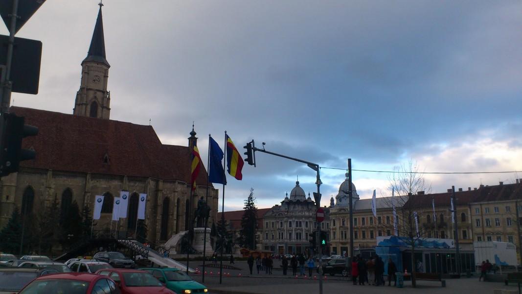Piața Unirii, Cluj-Napoca, weekendul pentru mașini, februarie 2016