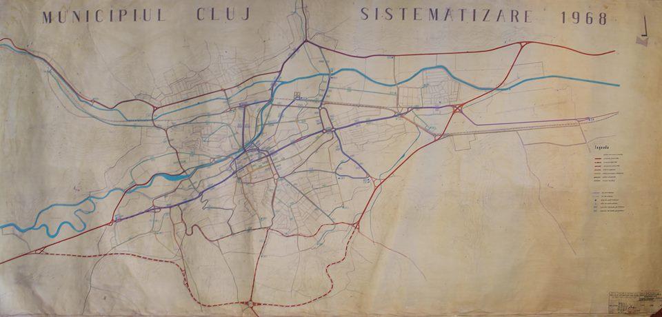 Sistematizarea Clujului din 1968, cu centura de ocolire Sud. Sursa - arhitectul Claudiu Salanță.