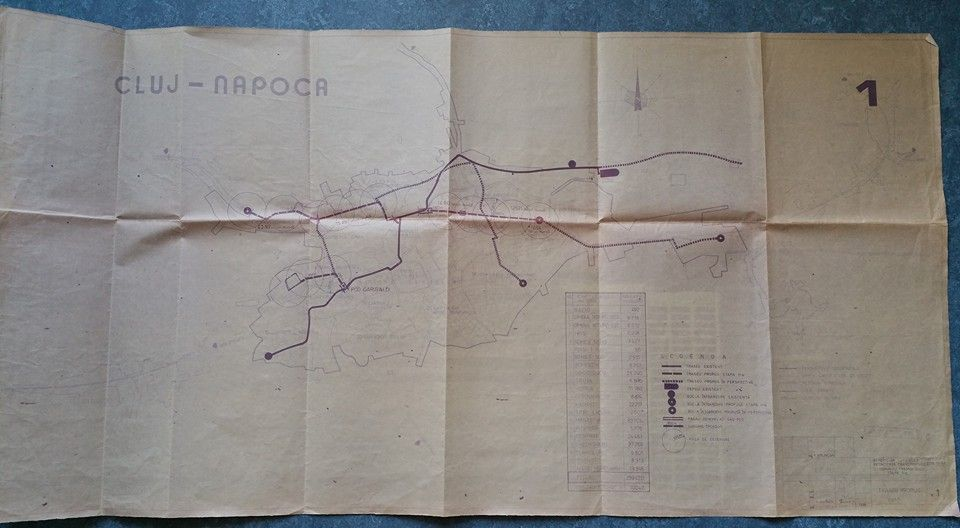Schița pentru prelungirea liniei de tramvai a Clujului, din 1988 / sursa arhitectul Eugen Pănescu