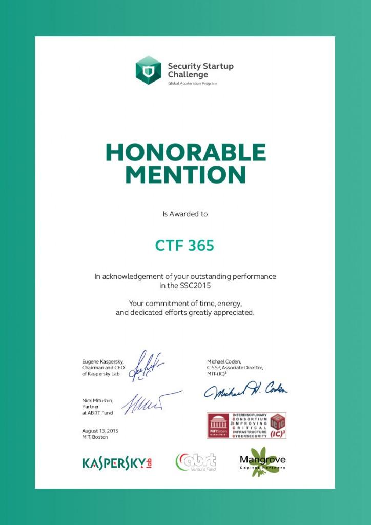 MIT Boston - Honorable Mention. Sursa foto: CTF365