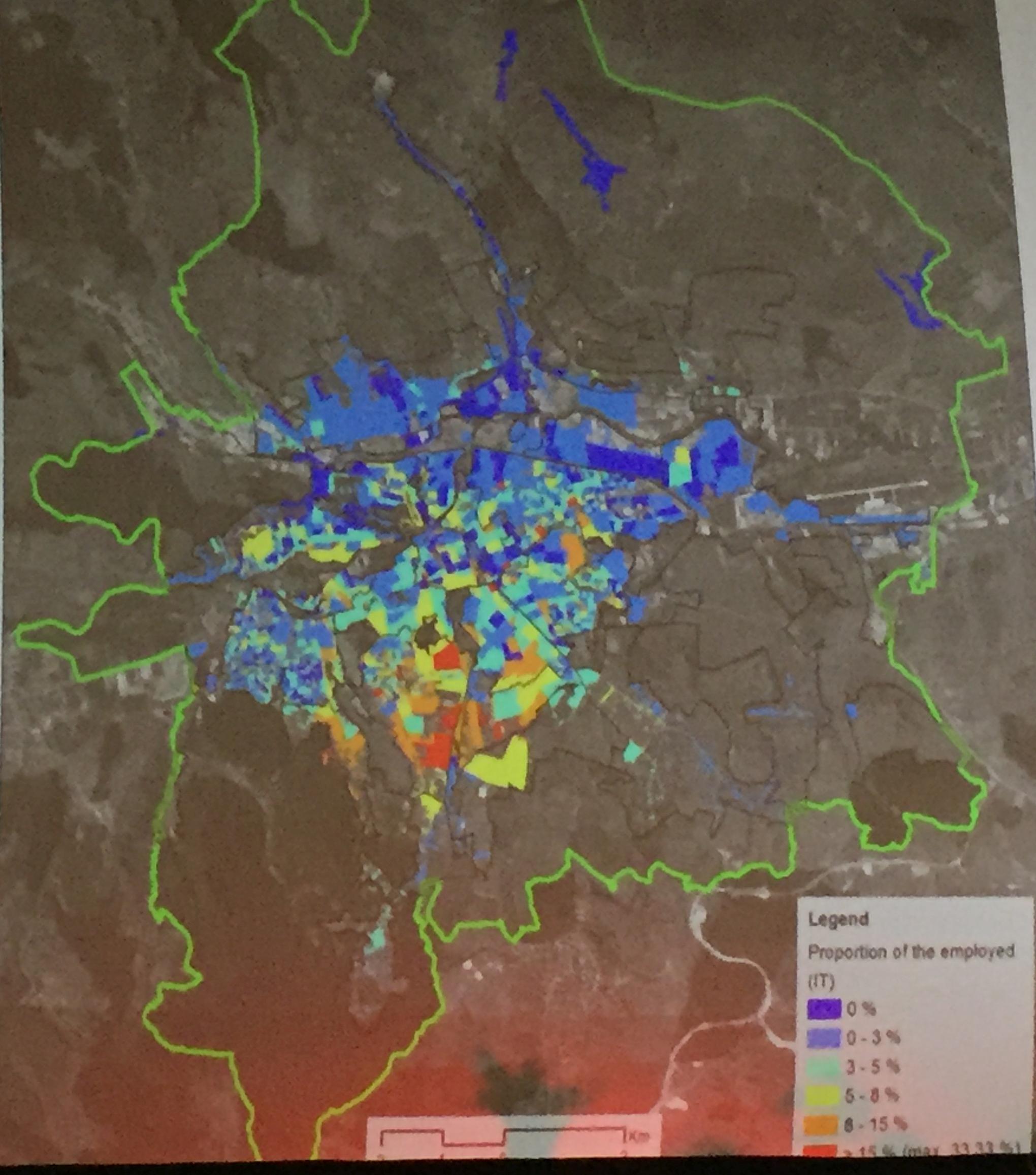 Populația angajată în IT, pe cariere, în Cluj, sursa foto: studiu Transport mobility and socio-spatial segregation, coordonator Benedek Jozsef