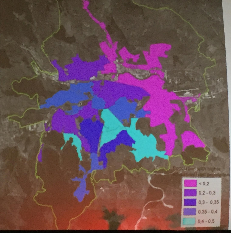 Populatia cu studii superioare din Cluj, sursa foto: studiu Transport mobility and socio-spatial segregation, coordonator Benedek Jozsef